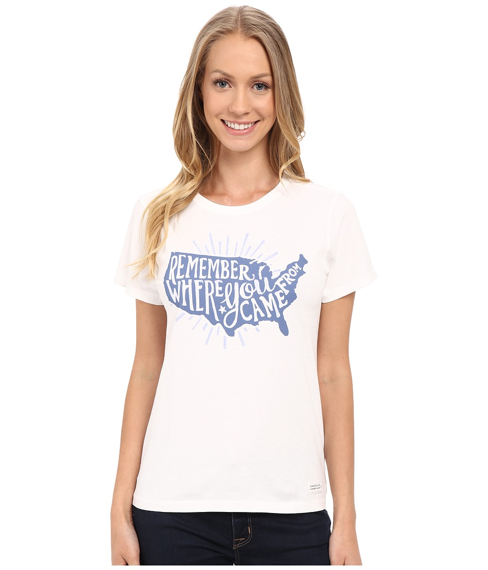 Life is Good Remember USA Crushertm Tee (Cloud White) Women