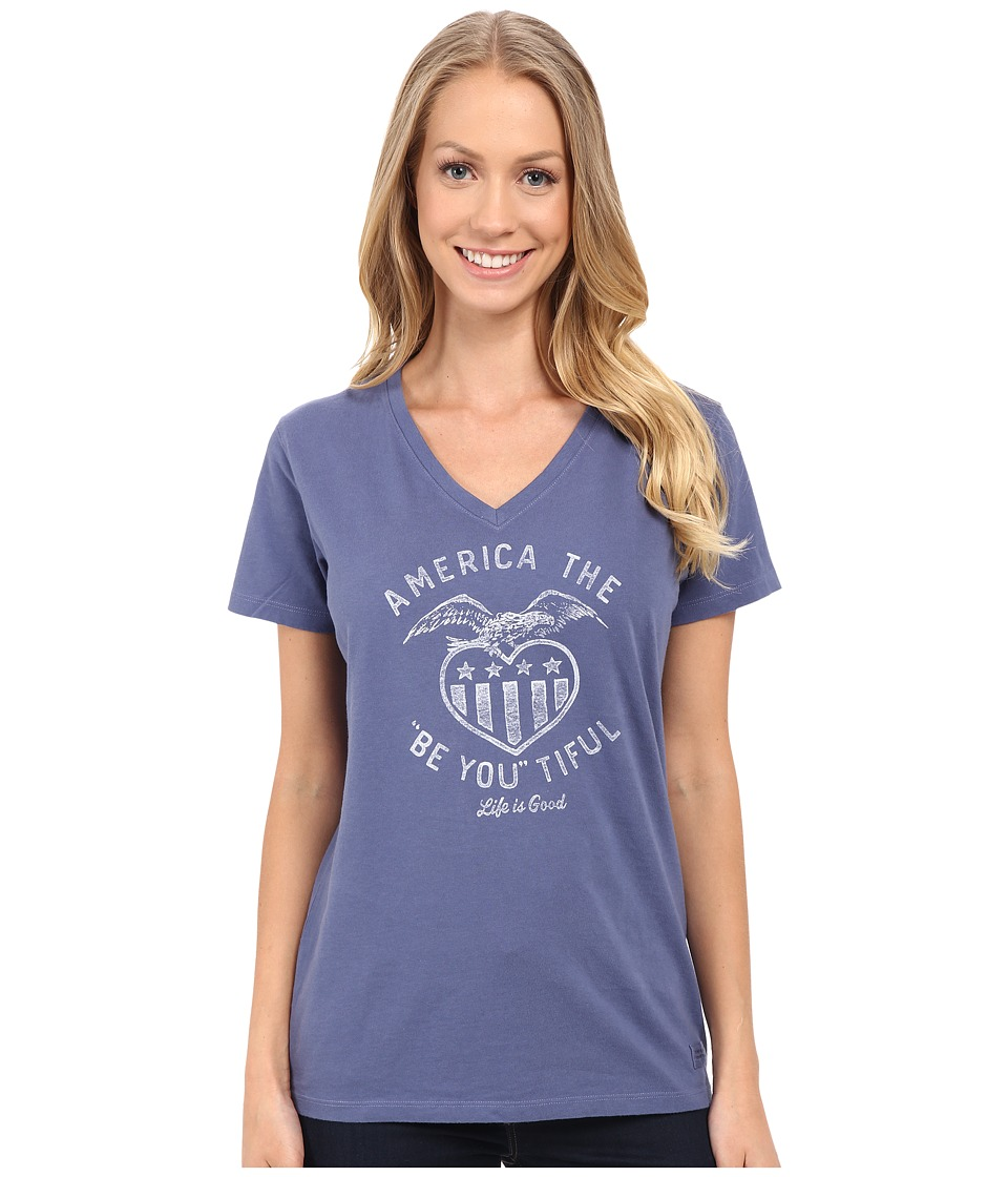 Life is good - Be You America Crusher Vee (Anchor Blue) Women's T Shirt