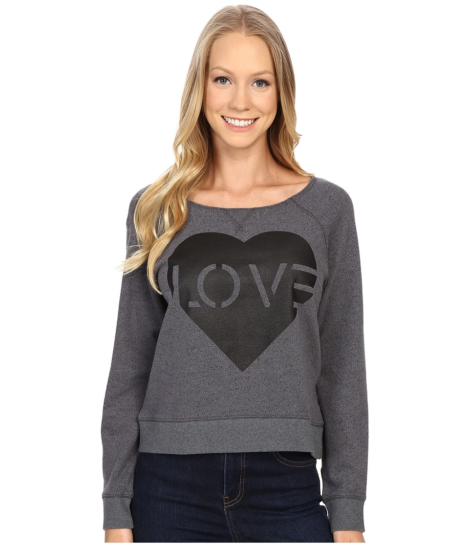 Life is Good - Love Stencil Marled Terry Crew Pullover (Heather Gray) Women's Long Sleeve Pullover