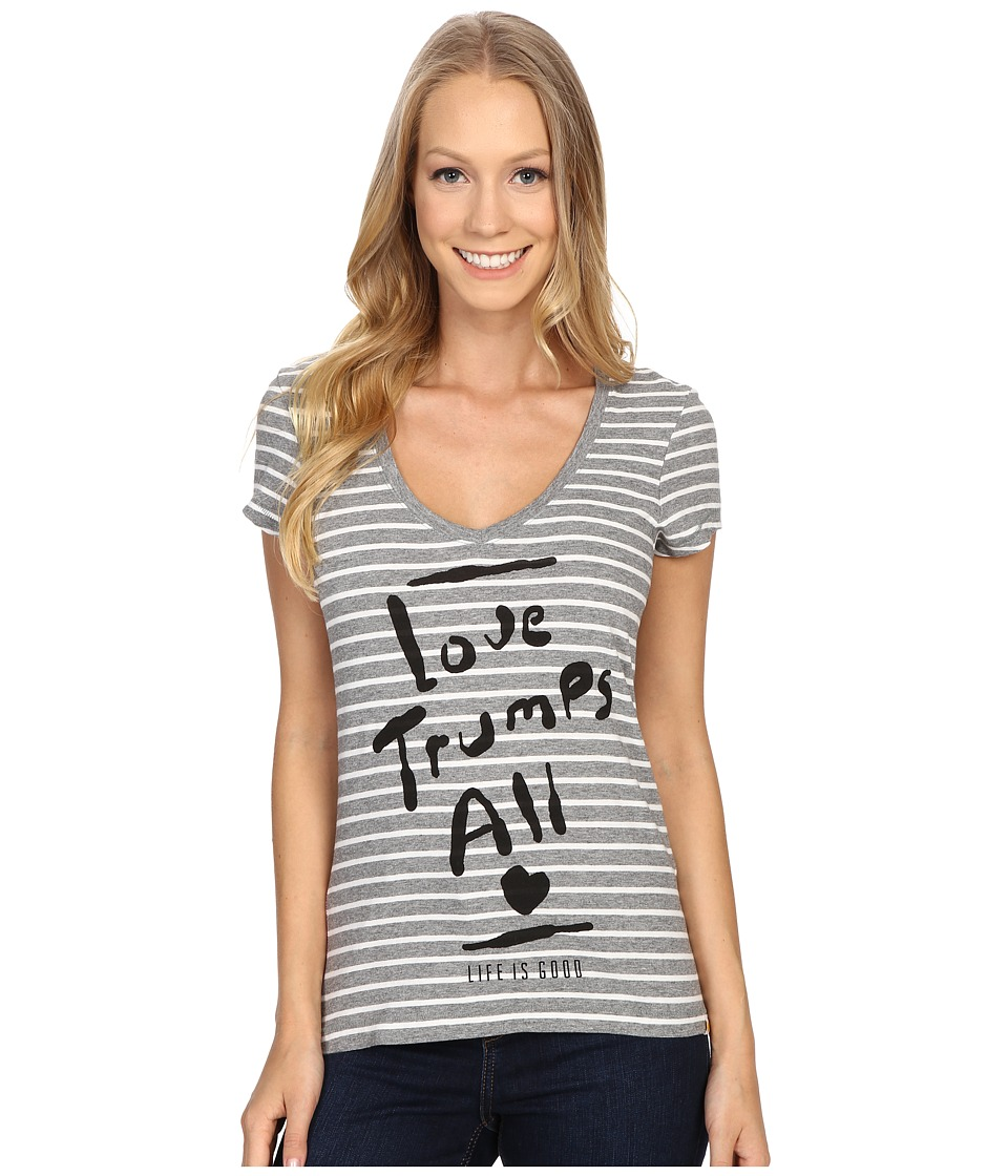 Life is good - Love Trumps All Newbury Vee (Heather Gray) Women's T Shirt