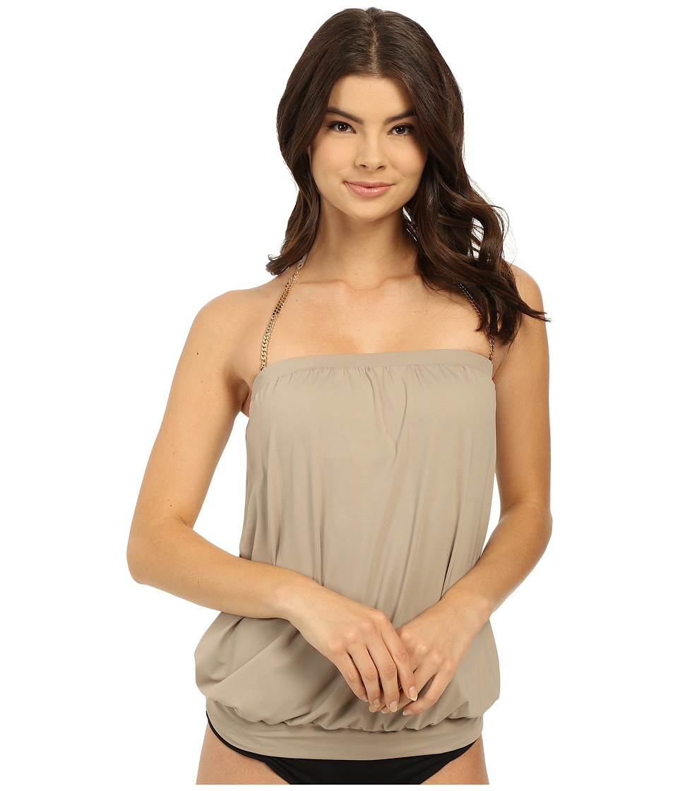 Vince Camuto - Polish Blouson Tankini w/ Removable Soft Cups (Sandstone) Women's Swimwear