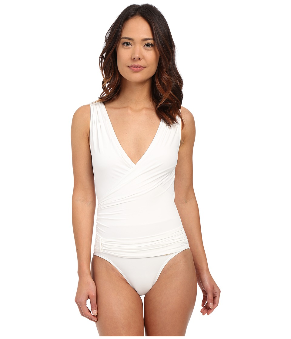 Vince Camuto - Polish Draped Surplus w/ Shelf Bra (White) Women's Swimsuits One Piece