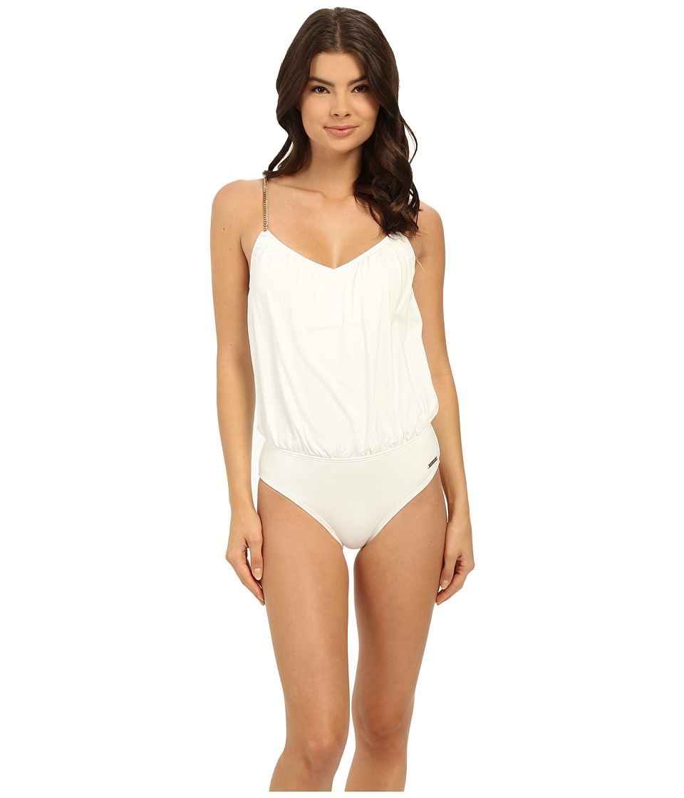 Vince Camuto - Polish Blouson Maillot w/ Removable Soft Cups (White) Women's Swimsuits One Piece