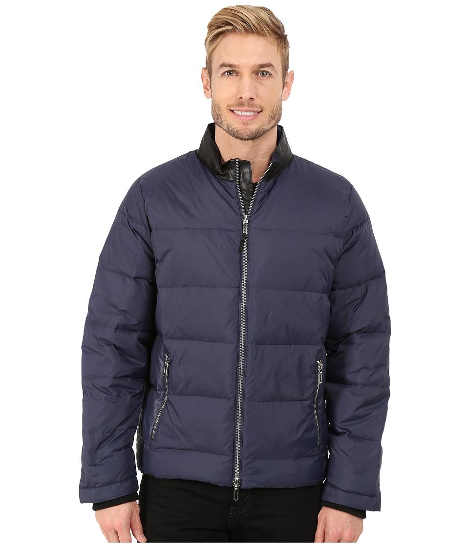 Calvin Klein - Nylon Down Jacket with Faux Leather Collar Detail (Navy Blazer) Men