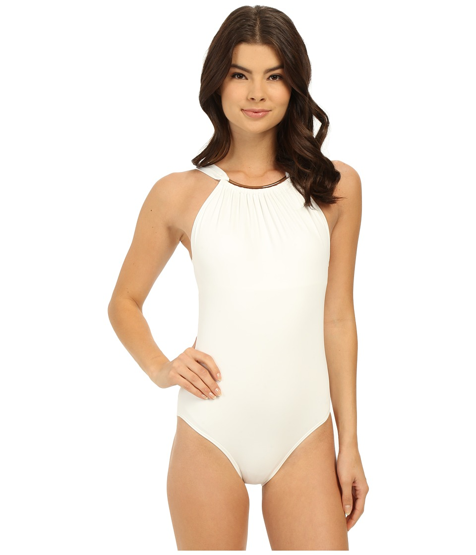 Vince Camuto - Polish High Neck Maillot w/ Removable Soft Cups (White) Women's Swimsuits One Piece