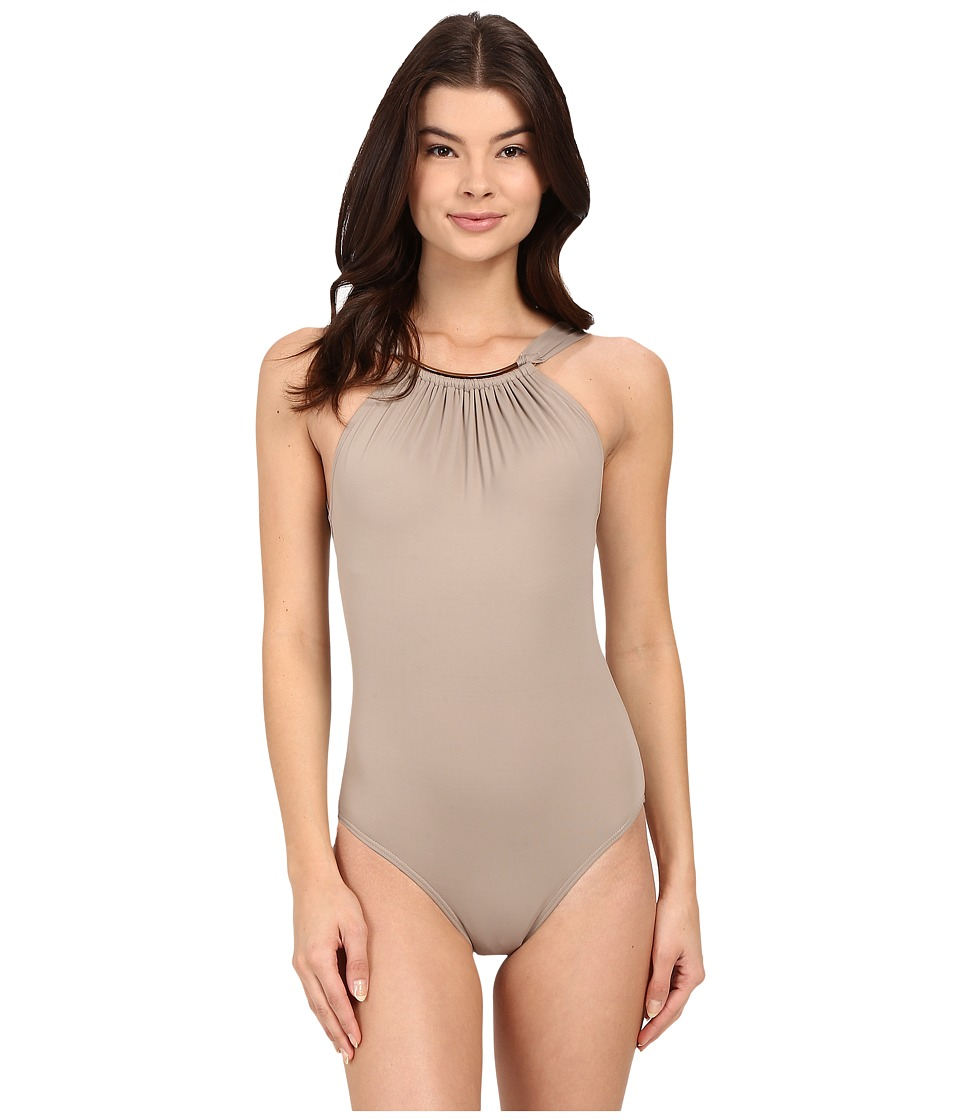 Vince Camuto Polish High Neck Maillot w/ Removable Soft Cups (Sandstone) Women