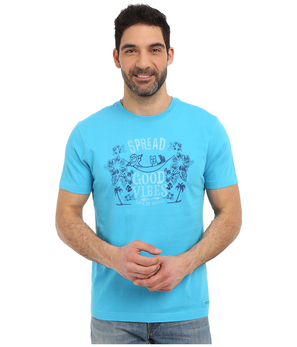 Life is good - Spread Good Vibes Crusher Tee (Bright Blue) Men's T Shirt