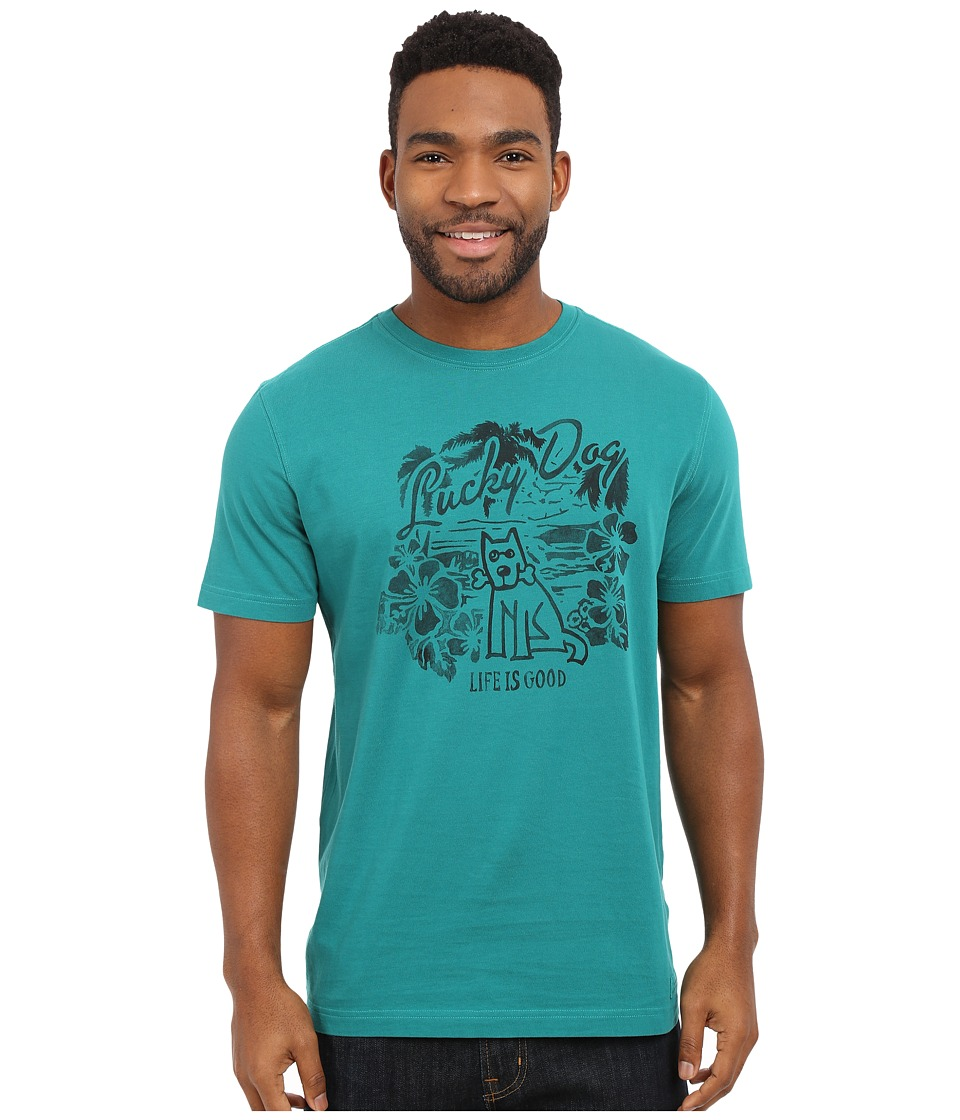 Life is good - Lucky Dog Crusher Tee (Beachy Teal) Men's Short Sleeve Pullover