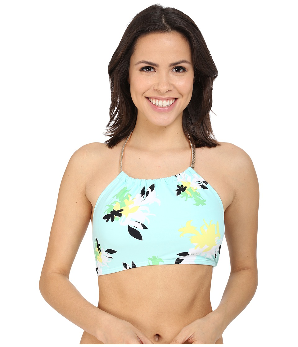 Vince Camuto - Pool Side Chain Halter Crop Top w/ Removable Soft Cups (Aqua Shade) Women's Swimwear
