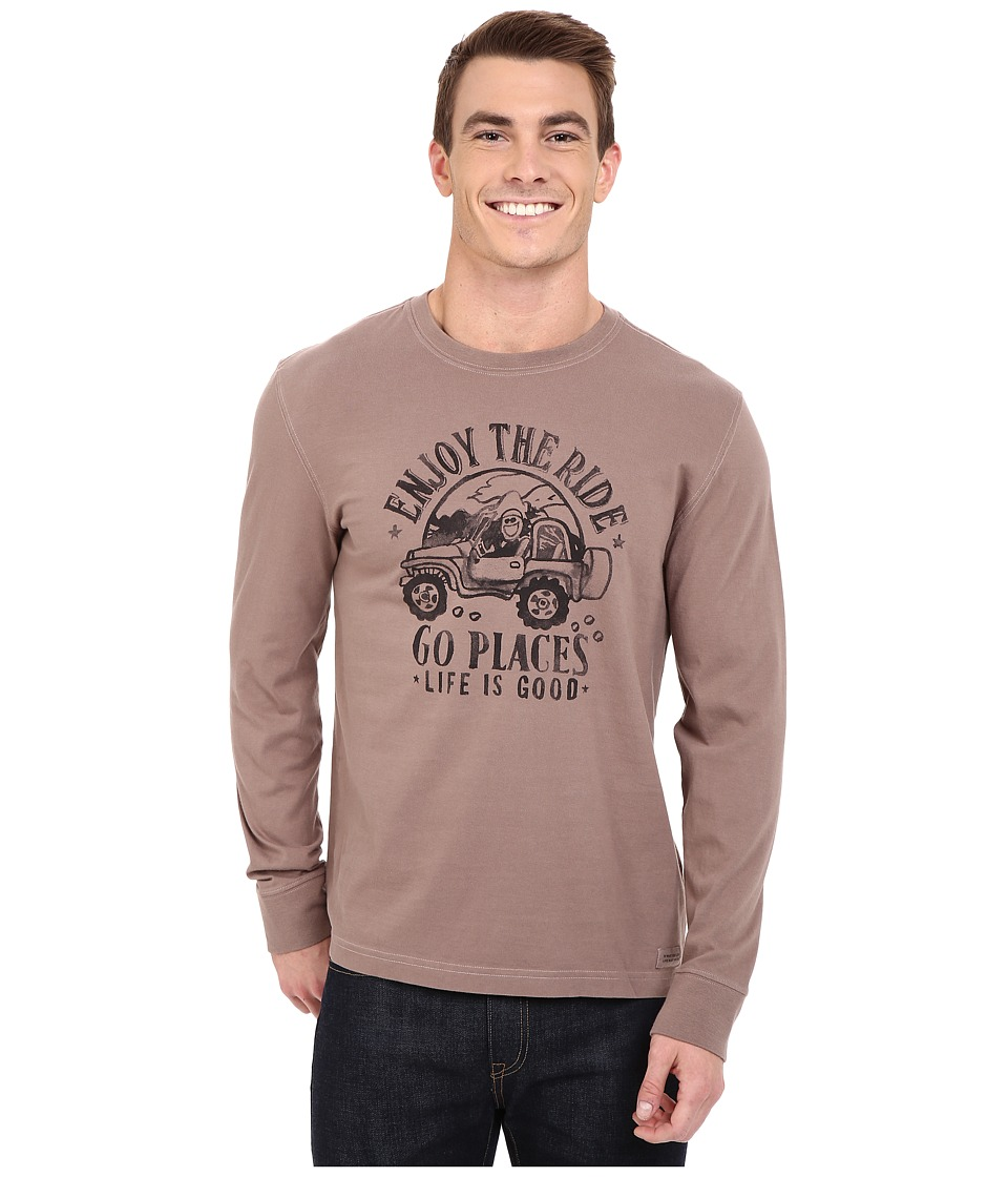 Life is good - Go Places Crusher Long Sleeve Tee (Matte Brown) Men's Long Sleeve Pullover