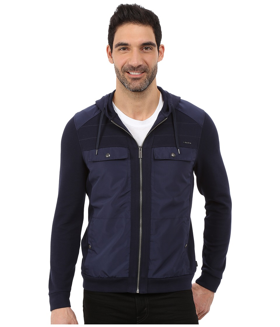 Calvin Klein - Long Sleeve Mixed Media French Solid Mix Media French Rib Hood Sweatshirt (Navy Blazer) Men