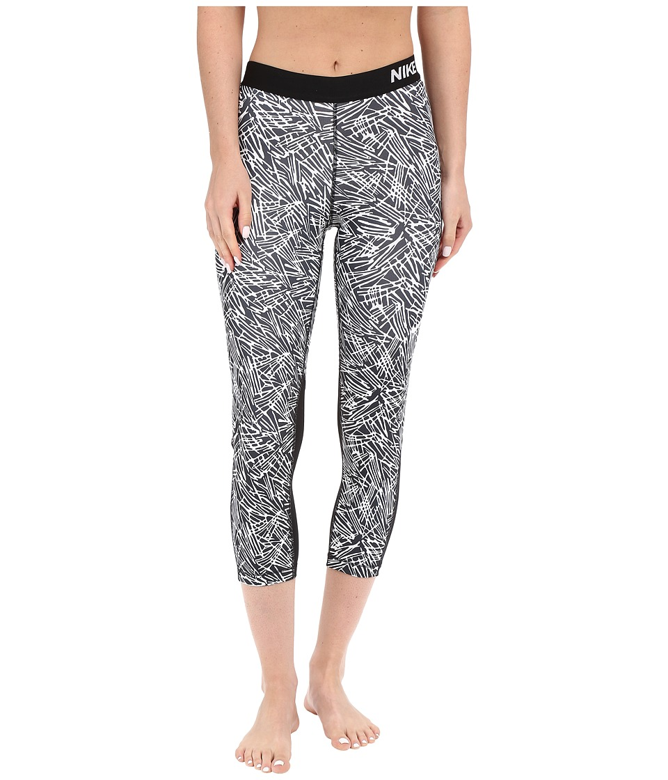 Nike - Pro Cool Palm Print Training Capri (Black/White/White) Women's Workout