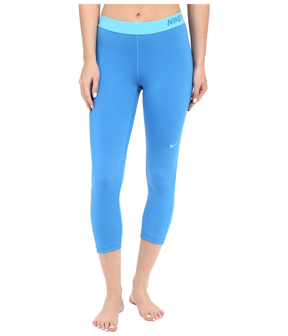 Nike Pro Cool Capris (Light Photo Blue/Omega Blue) Women