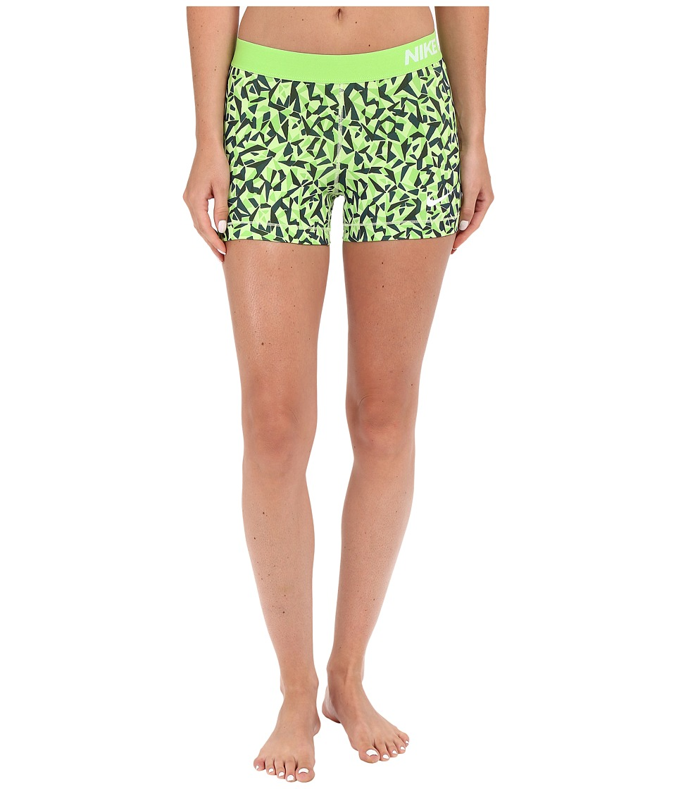 Nike - Pro 3 Cool Facet Training Short (Action Green/Black/Key Lime/White) Women's Shorts