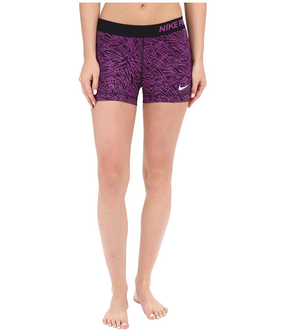 Nike - Pro 3 Cool Palm Training Short (Cosmic Purple/Black/White) Women's Shorts