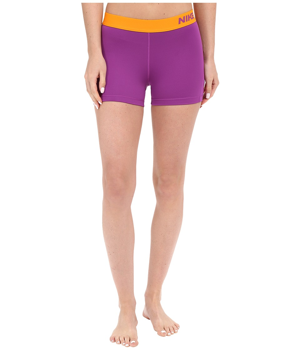 Nike - Pro 3 Cool Compression Training Short (Cosmic Purple/Vivid Orange/Vivid Orange) Women's Shorts