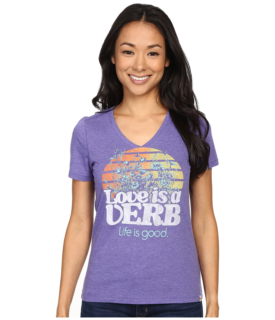 Life is good - Life Is Good Love Is A Verb Cool Vee (Blue Violet) Women's T Shirt