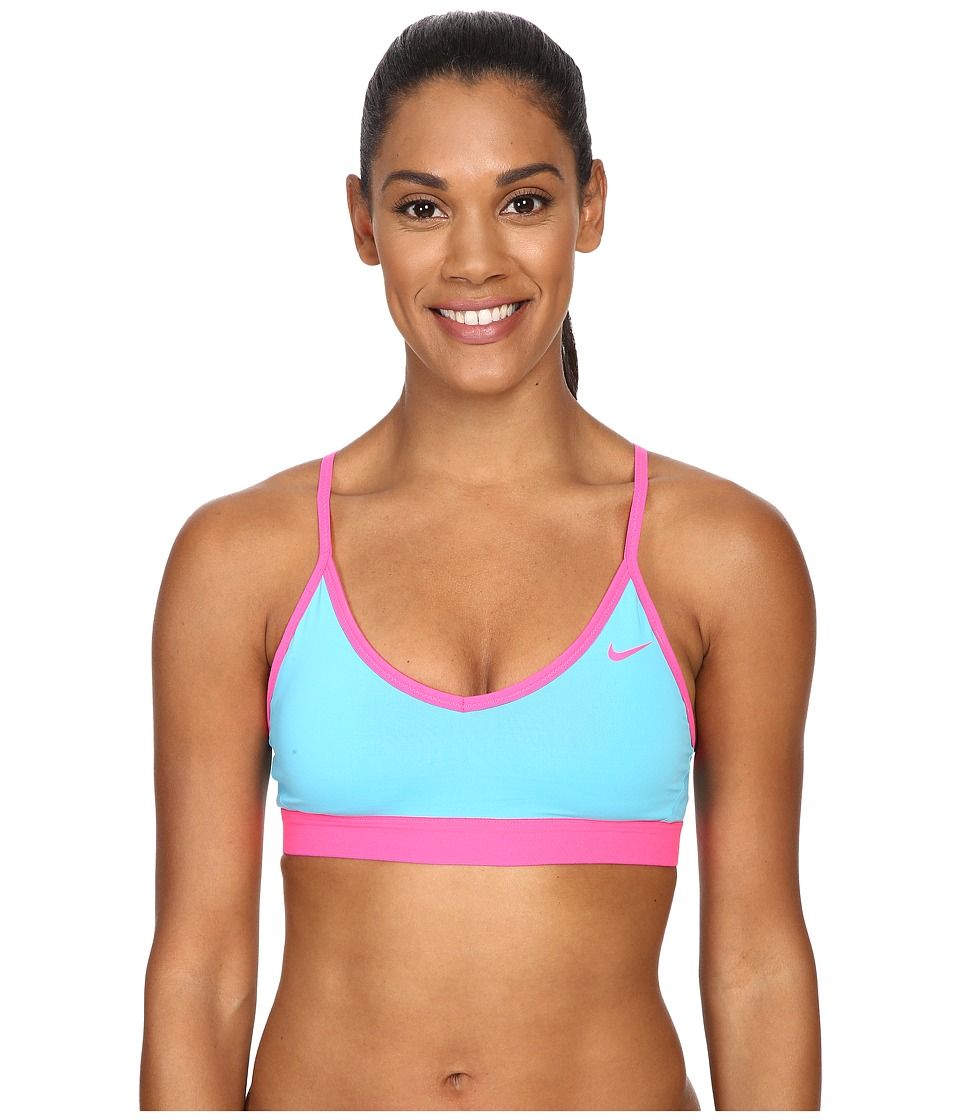 Nike - Pro Indy Bra (Omega Blue/Omega Blue/Hyper Pink/Hyper Pink) Women's Bra