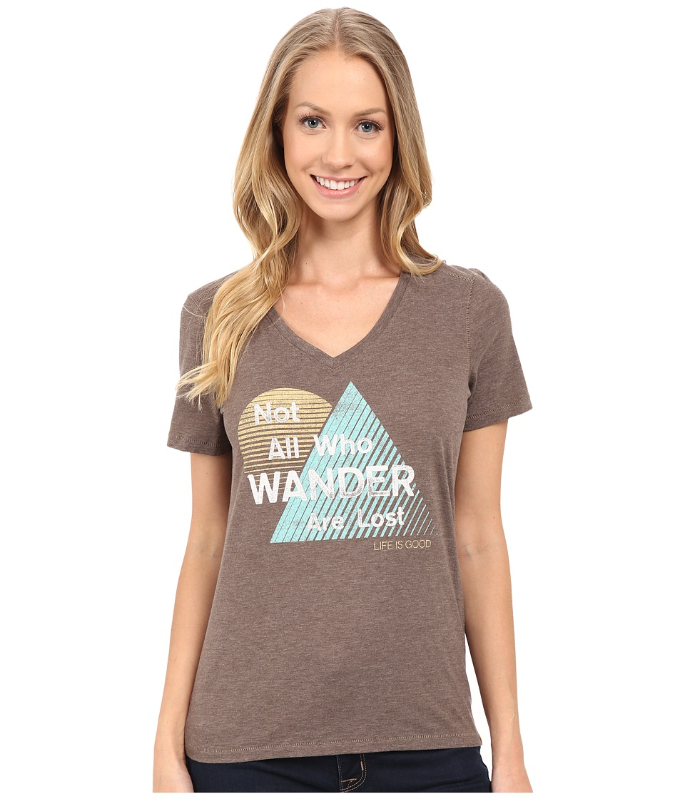 Life is good - All Who Wander Triangle Stripe Cool Vee (Shale Brown) Women's T Shirt