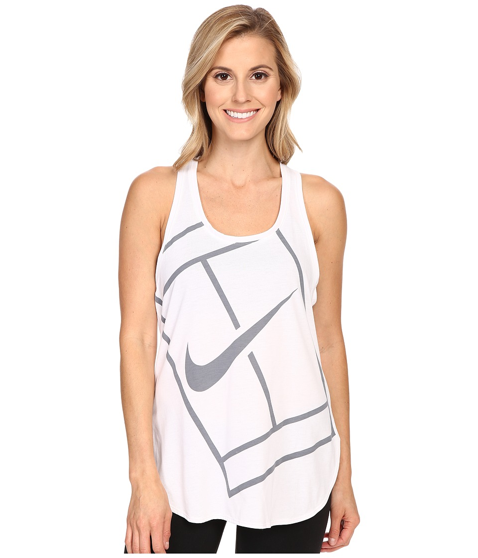 Nike - Court Baseline Tennis Tank Top (White/White) Women's Sleeveless