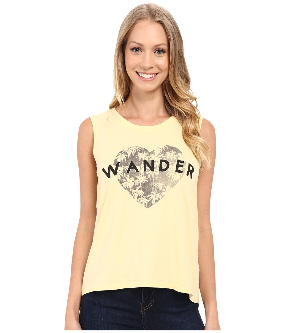 Life is good - Wander Heart With Palms Muscle Tee (Soft Yellow) Women's Sleeveless