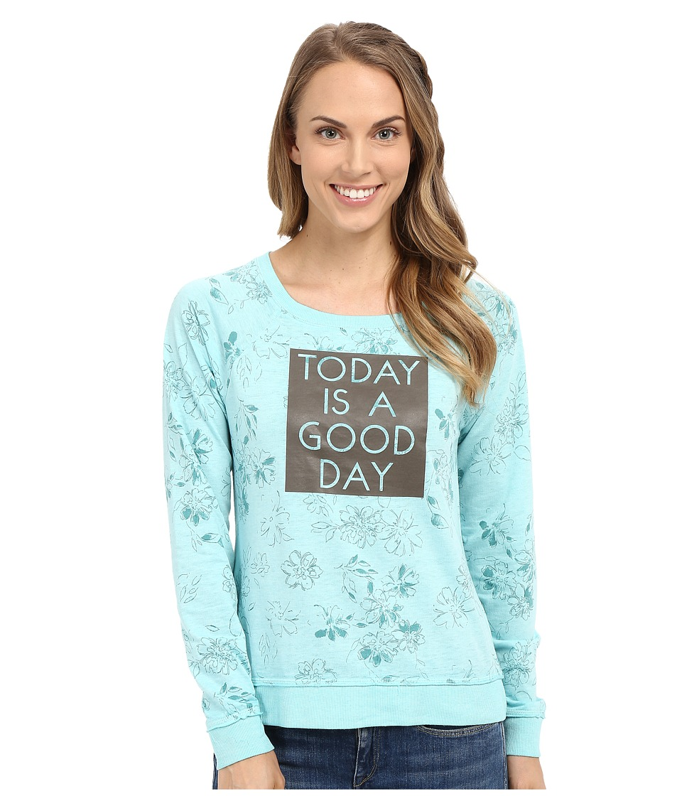 Life is good - Today Is A Good Day French Terry Crew (Cool Aqua) Women's Long Sleeve Pullover