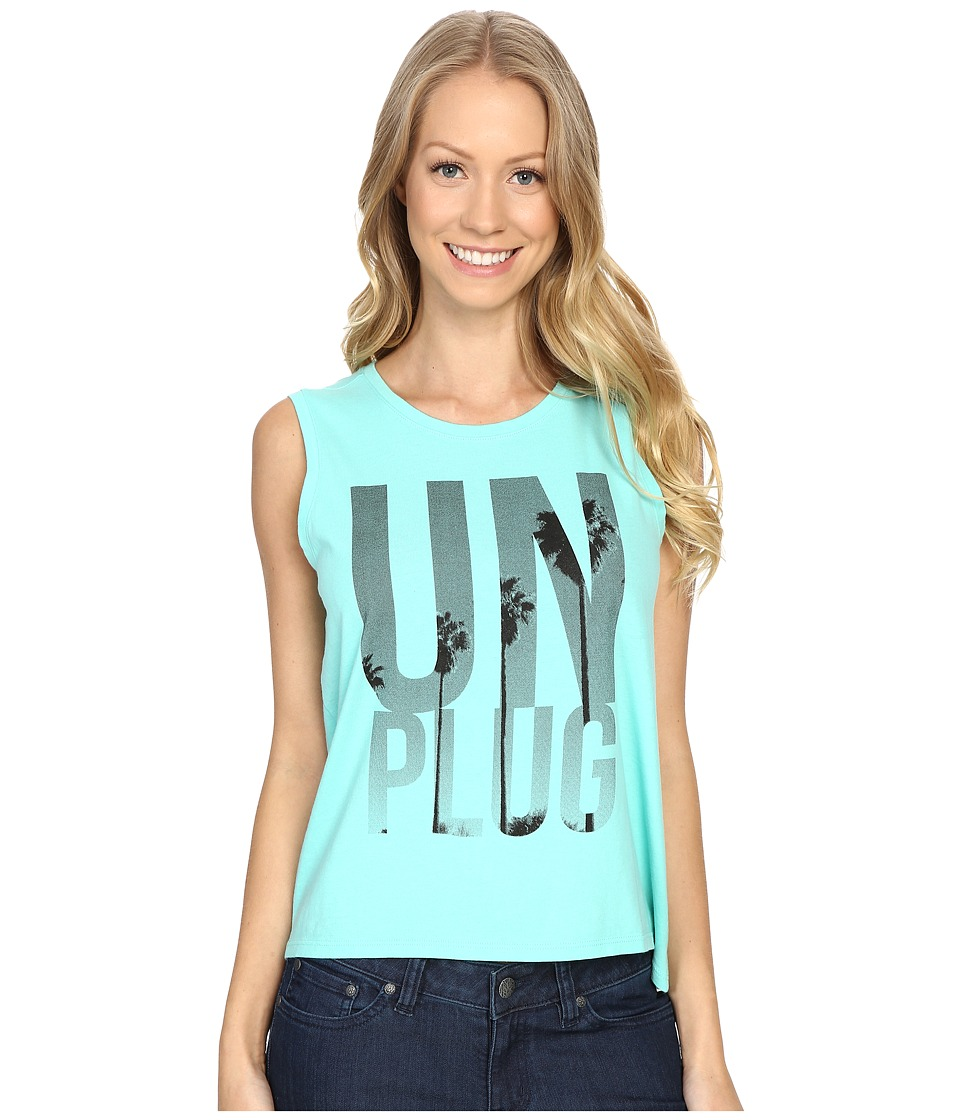 Life is good - Unplug Palm Trees Muscle Tee (Cool Aqua) Women's Sleeveless