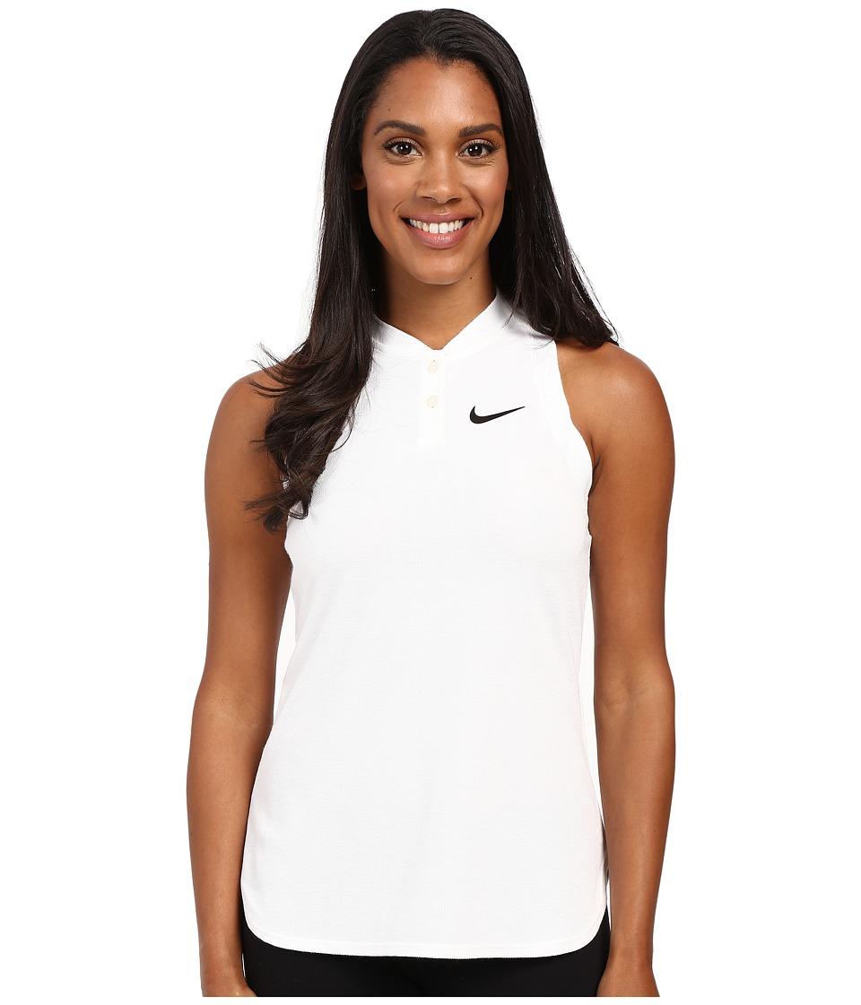 Nike - Court Premier Slam Tennis Tank Top (White/Black) Women's Sleeveless