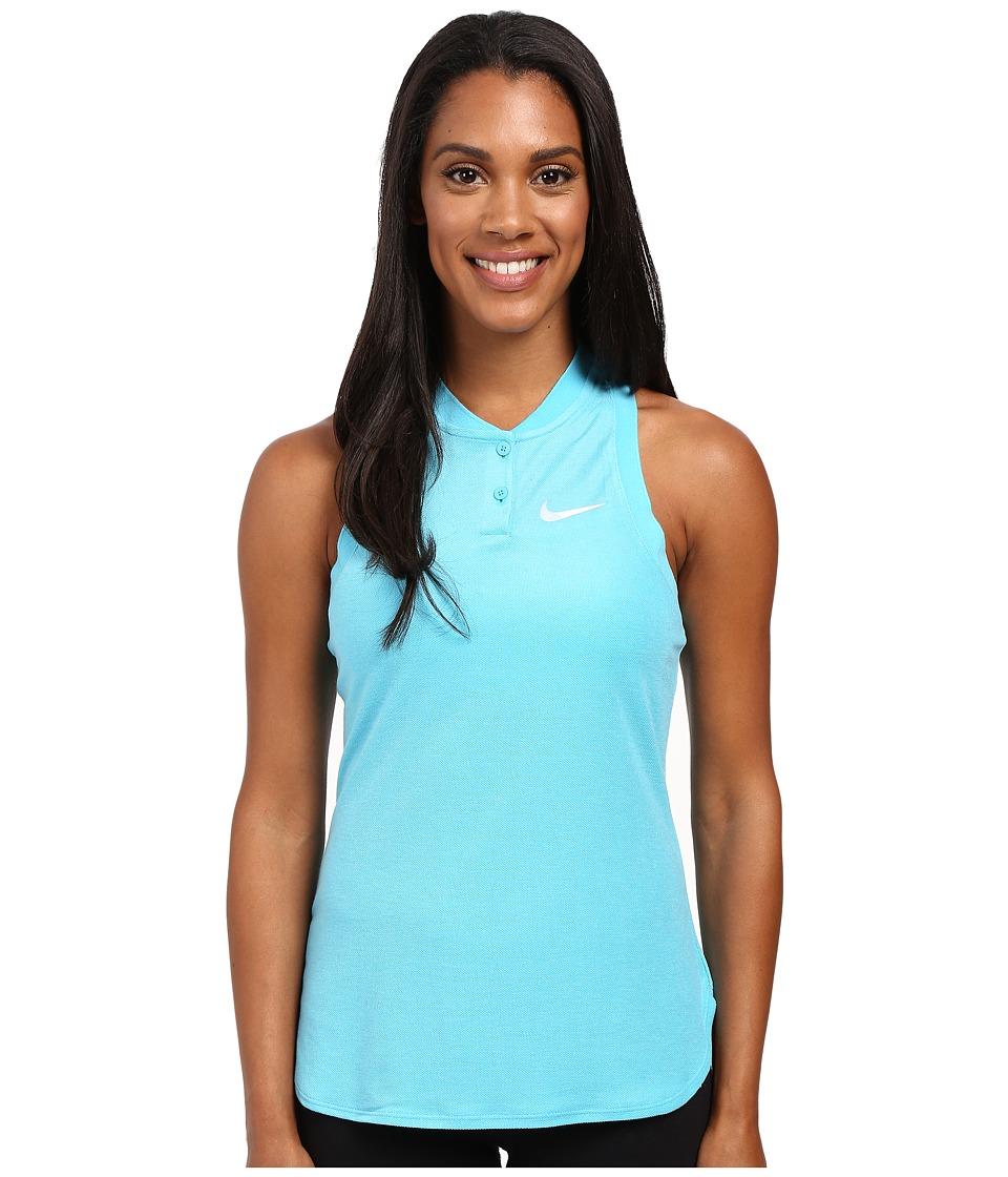 Nike - Court Premier Slam Tennis Tank Top (Omega Blue/White) Women's Sleeveless