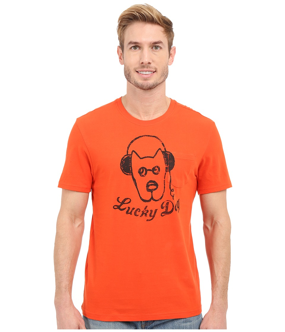 Life is good - Lucky Dog Headphones Pocket Sleep Tee (Flame Orange) Men's Pajama