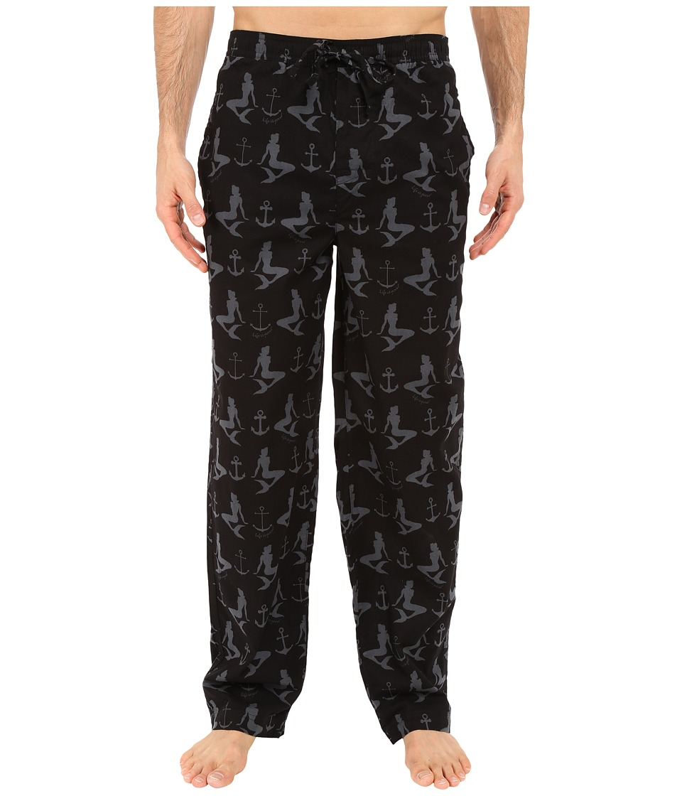 Life is Good - Mermaids and Anchors Classic Sleep Pants (Night Black) Men's Pajama