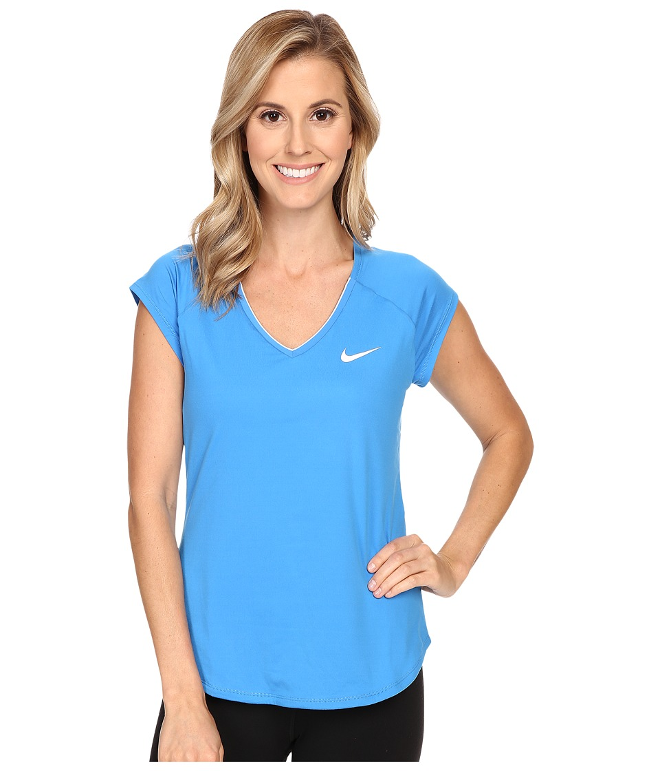 Nike - Court Pure Tennis Top (Light Photo Blue/White) Women's Short Sleeve Pullover