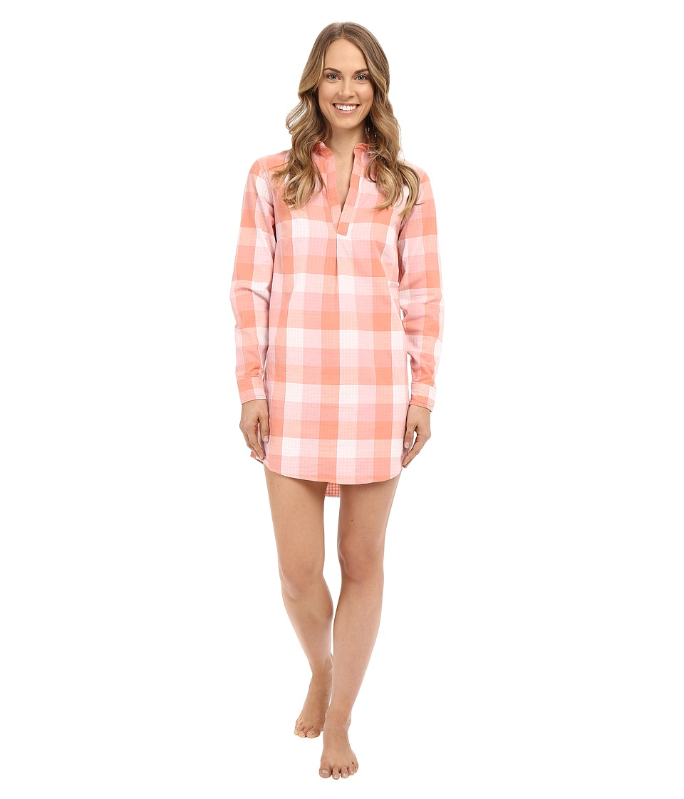 Life is good - Love Who You Are Woven Night Shirt (Tawny Peach Plaid) Women's Pajama