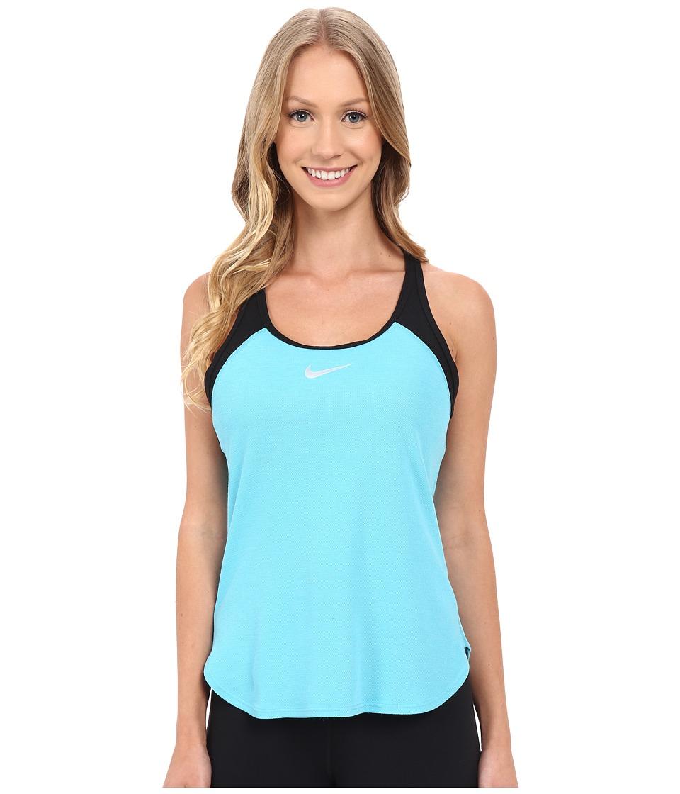Nike - Court Slam Breathe Tennis Tank Top (Omega Blue/Black/White) Women's Sleeveless
