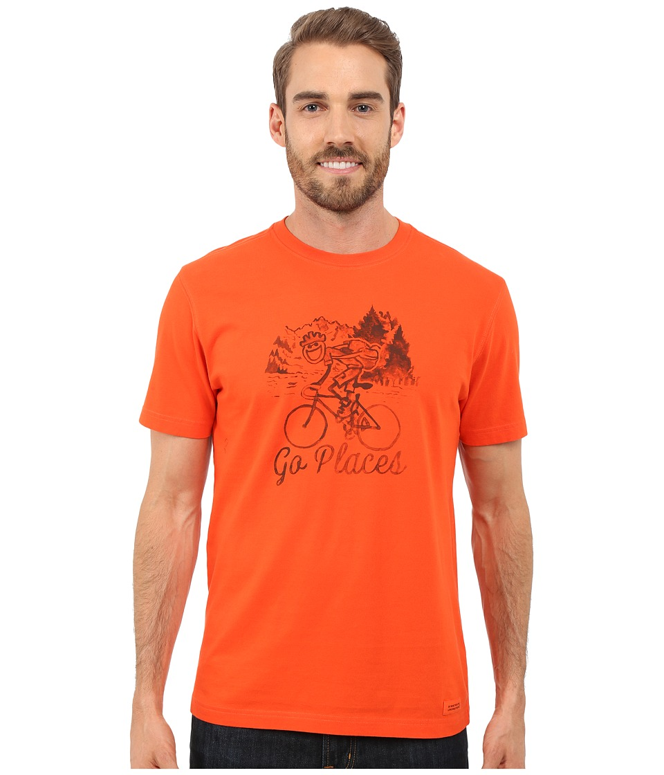 Life is good - Go Places Bicycle Crusher Tee (Flame Orange) Men's T Shirt
