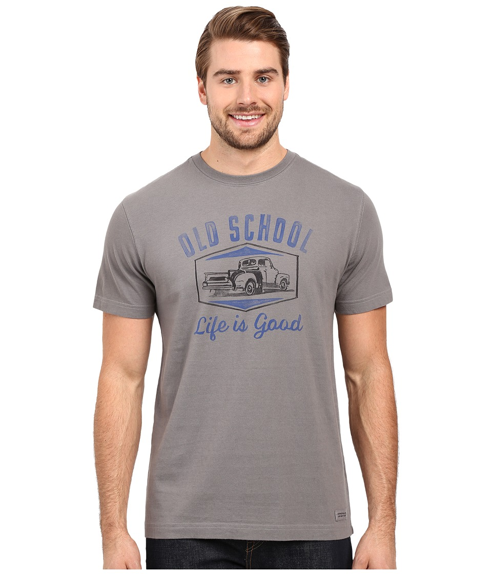 Life is good - Old School Truck Crusher Tee (Slate Gray) Men's T Shirt