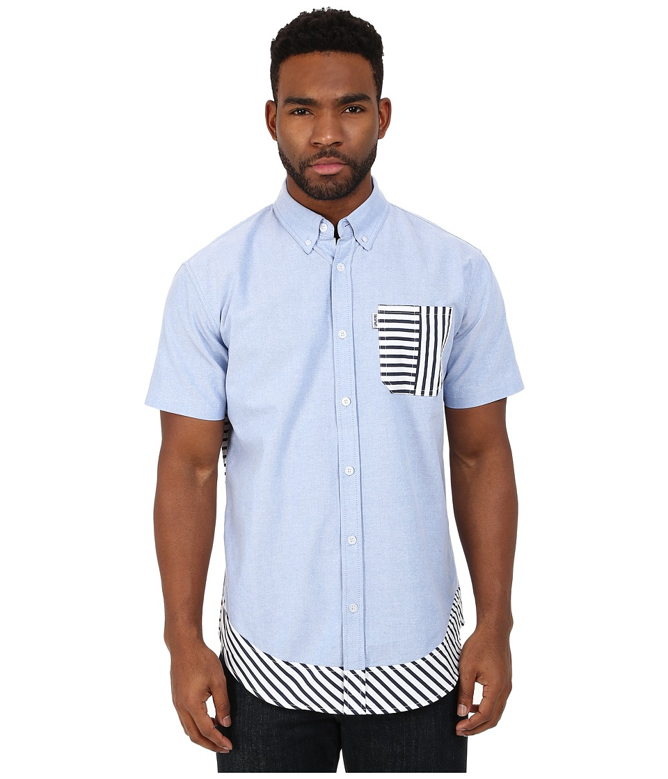 Staple - Beta Short Sleeve Striped Woven (Chambray 2) Men's Short Sleeve Button Up