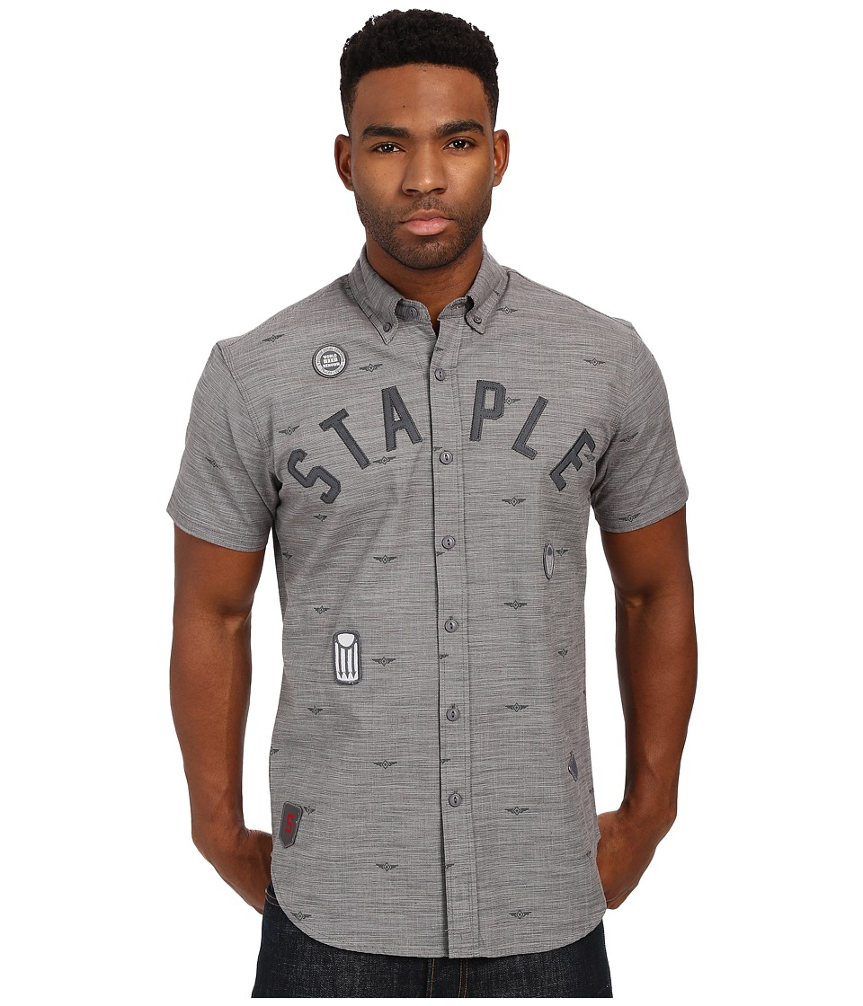 Staple - Debris Patch Woven (Grey) Men's Clothing
