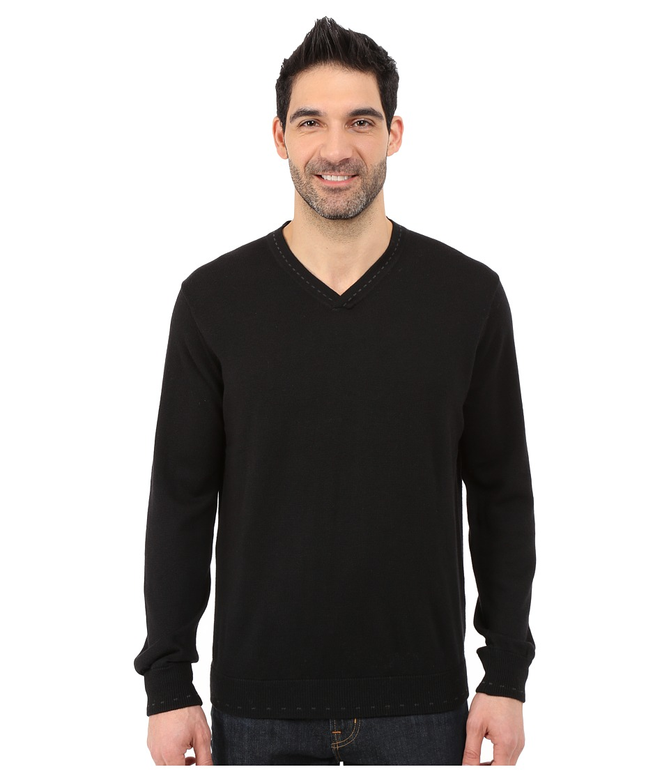 Robert Graham - Newcastle V-Neck Sweater (Black) Men