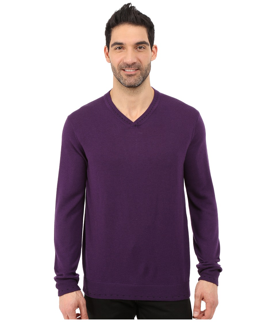 Robert Graham - Newcastle V-Neck Sweater (Blackberry) Men