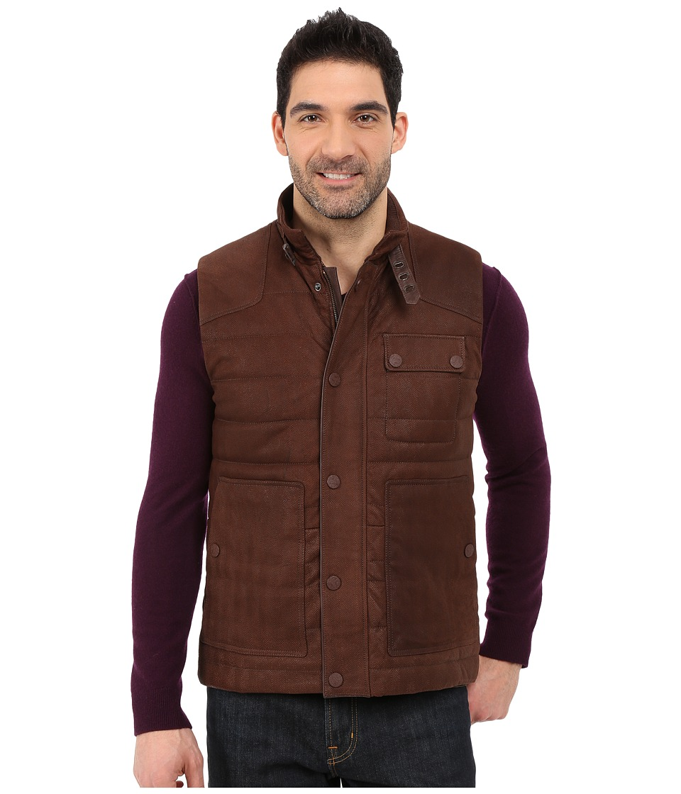 Robert Graham - Browne Suede Woven Vest (Brown) Men's Vest