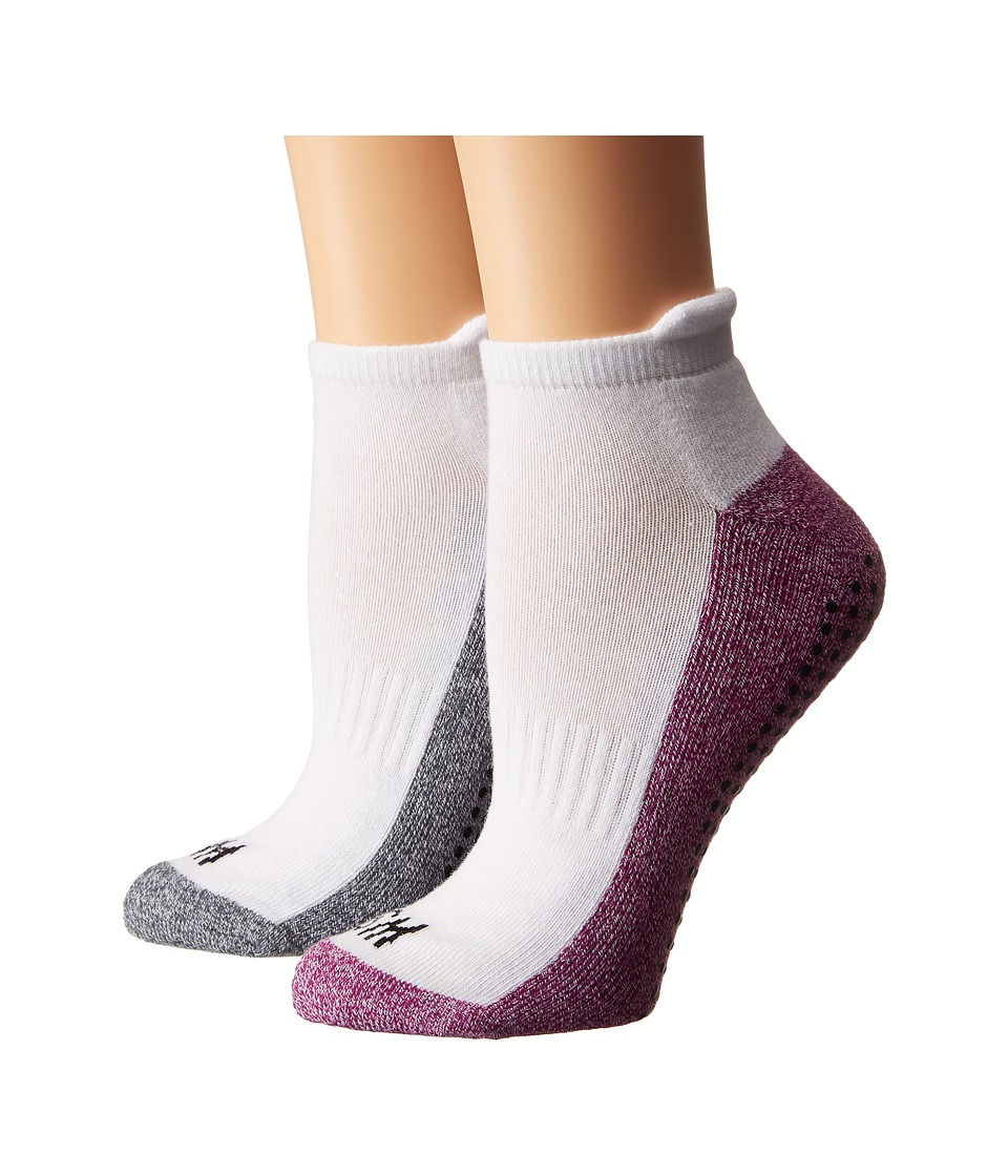 Steve Madden - 2-Pack Yoga Barre Socks with Gripper Sayings (Purple/Heather Grey) Women's Low Cut Socks Shoes