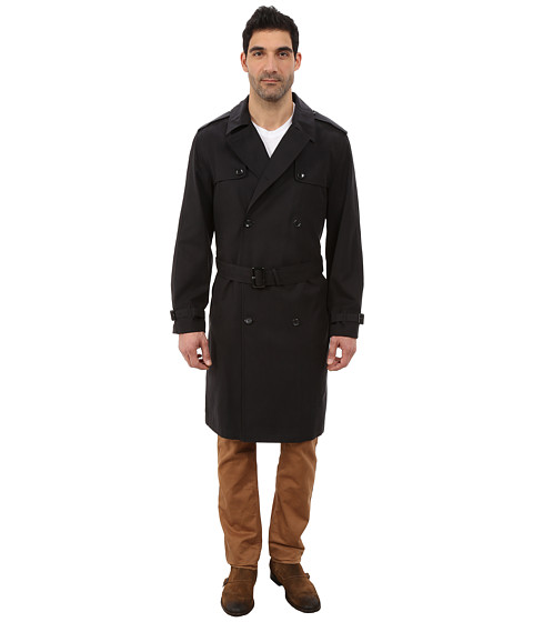 London Fog - Daniel Double Breasted Trench Coat (Black) Men's Coat