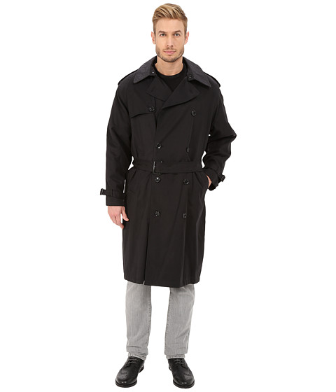 London Fog - Chad Belted Trench Coat (Black) Men