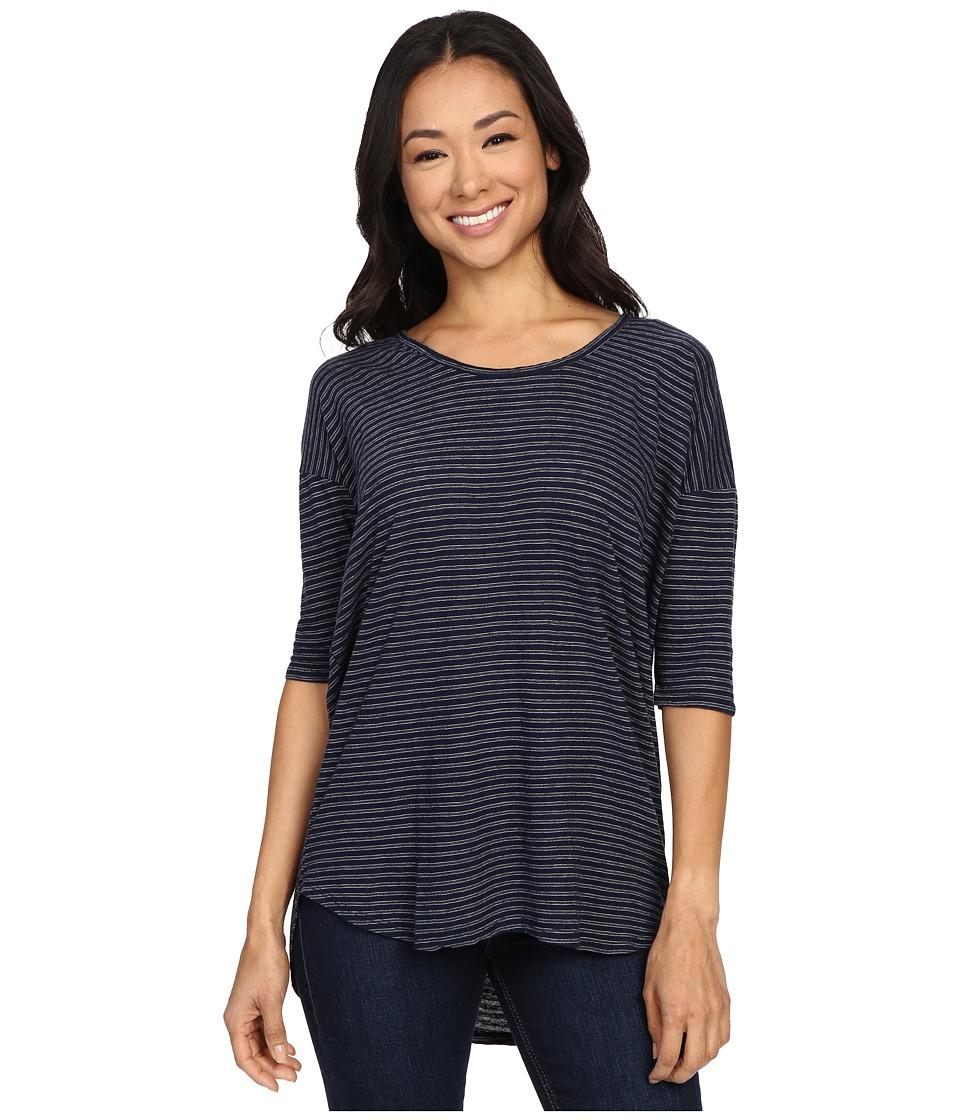 Allen Allen - Stripe High-Low Tee (Lapis) Women's T Shirt