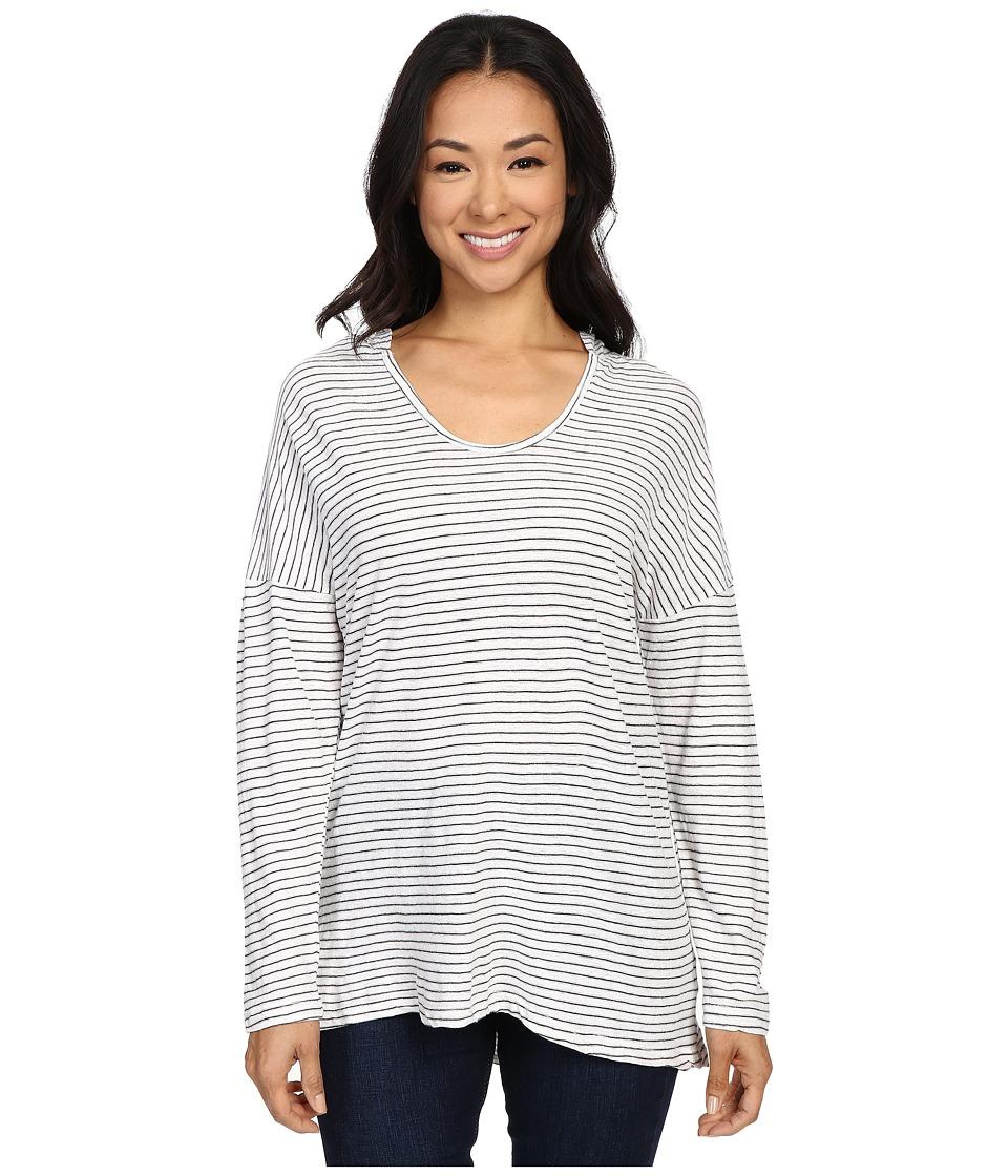 Allen Allen - Stripe Hoodie (White) Women's Long Sleeve Pullover