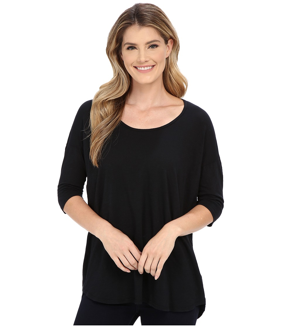 Allen Allen - Slub Elbow Sleeve Tee (Black) Women's T Shirt