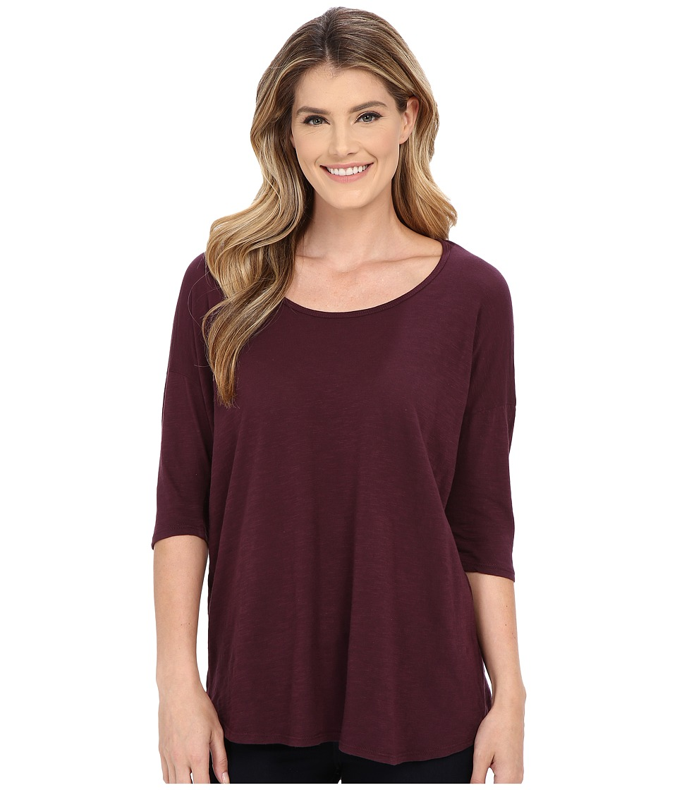 Allen Allen - Slub Elbow Sleeve Tee (Eggplant) Women's T Shirt