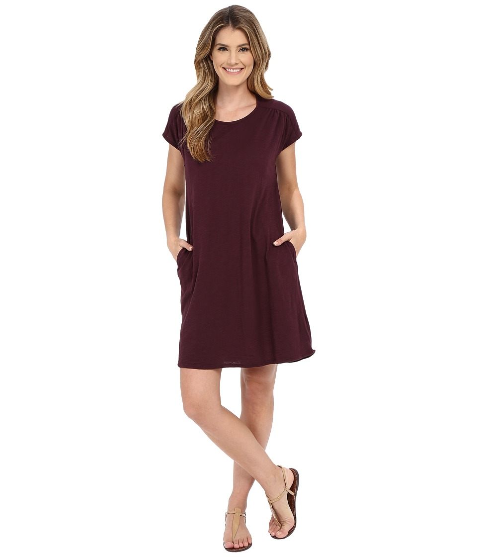 Allen Allen - Short Sleeve Two-Pocket Dress (Eggplant) Women's Dress