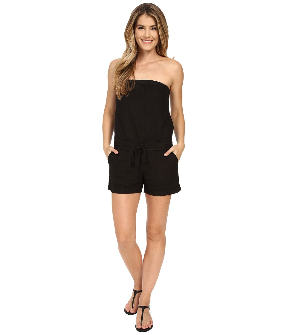 Allen Allen - Linen Romper (Black) Women's Jumpsuit & Rompers One Piece